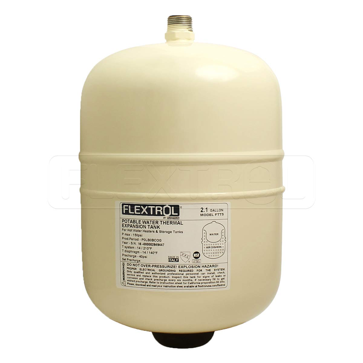 Flextrol FTT5 Thermal Expansion Tanks-for Hot Water Heaters, Carbon Shell, Stainless Steel 3/4 Inch MIP Connection, Butyl Diaphragm, 150 PSI, 210 Degrees Fahrenheit, Almond Color, 2.1 Gallons