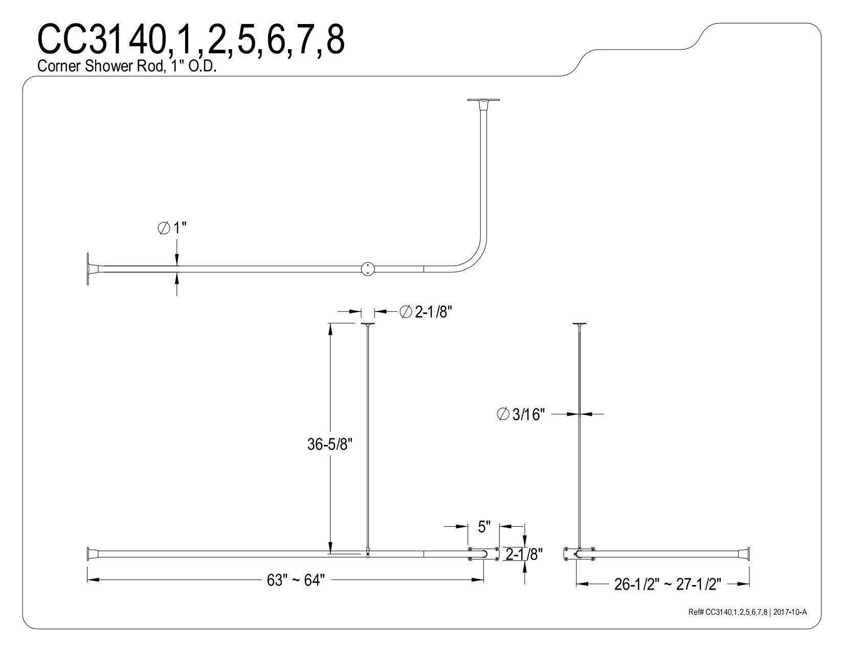 Kingston Brass CC3141 63-Inch Large Size by 26-1/2-Inch Corner Shower Rod, Polished Chrome by Kingston Brass (Image #1)