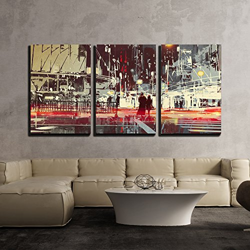 Street Decor Scene (wall26 - 3 Piece Canvas Wall Art - Illustration - Night Scene of Modern City Street,Illustration Painting - Modern Home Decor Stretched and Framed Ready to Hang - 24