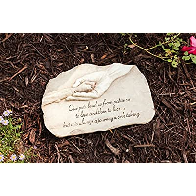 """Evergreen Garden Dog Paw in Hand Devotion Painted Polystone Stepping Stone - 12""""W x 0.5""""D x 7.5""""H: Pet Supplies"""