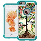 UrSpeedtekLive iPhone 6 Case, iPhone 6s Cases [Shock Absorption] Dual Layer Heavy Duty Protective Silicone Plastic Cover Case for iPhone 6/6s - Love Tree