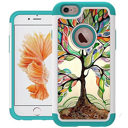 iPhone 6 Case, UrSpeedtekLive iPhone 6s Cases [Shock Absorption] Dual Layer Heavy Duty Protective Silicone Plastic Cover Case for iPhone 6/6s - Love Tree