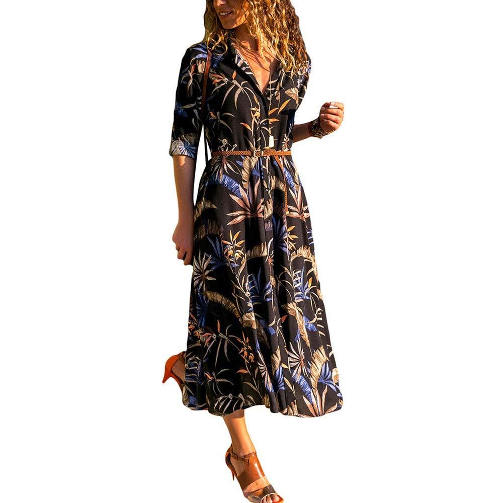 Black Women's Sexy Vneck Long Sleeve Lapel Floral Dress Button Down Dress