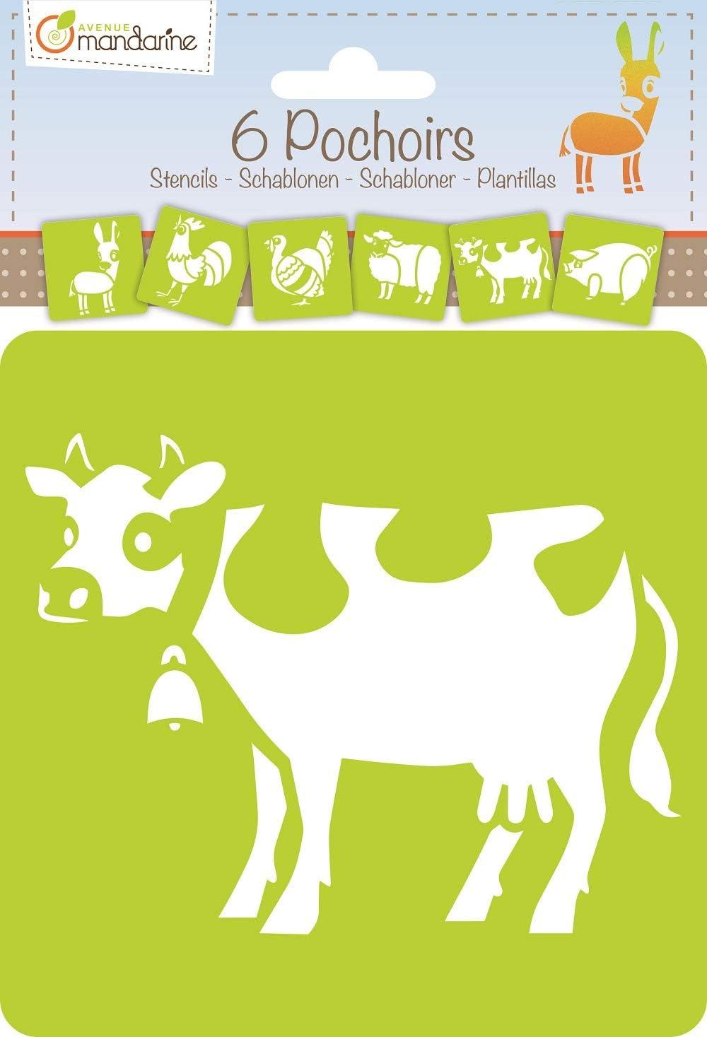 Avenue Mandarine 42450MD Set 6er Pack mit 6 Schablonen, 15 x 15 cm, geeignet f/ür Kinder ab 3 Jahre, f/ür Filz- und Farbstifte, Farben oder Farbbomben, Alphabet