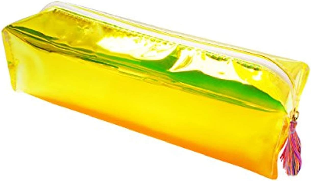 Estuche transparente para lápices o lápices de colores amarillos, color amarillo: Amazon.es: Oficina y papelería