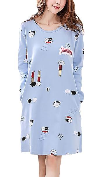 Pijamas Mujer Tallas Grandes Elegante Primavera Otoño Manga Larga Cuello Redondo Lindo Patrón Print Homewear Vestido