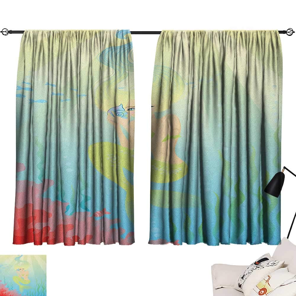Pattern24 W63  x L63  Beihai1Sun Mermaid Insulating Darkening Curtains Illustration of Cute Little Mermaid on top of a Big Wave in The Surf with Fish Kids Curtain for Kids Room Multicolor W63 x L45