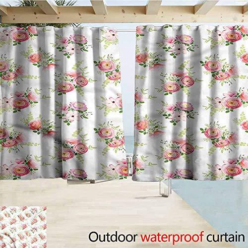 Magnolia Draperies - MaryMunger Exterior/Outside Curtains Shabby Chic Ranunculus Magnolia Draft Blocking Draperies W55x39L Inches