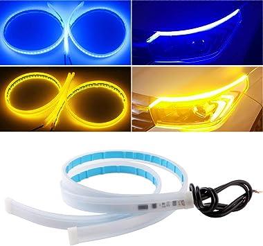 2Pcs Blue Ultrafine LED Strip 60cm//24inch Flexible Waterproof Daytime Running Light Strip DRL Suitable For Switchback Headlight LED Strip,Running Light,Flowing Turn Signal Light