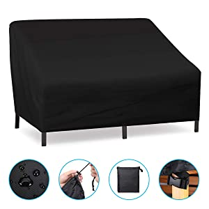 NASUM Patio Seat Cover, Lounge Deep Chair Cover, Patio Loveseat Cover, Durable and Waterproof Outdoor Furniture Chair Cover, Large Seat Patio Chair Cover, Oxford Cloth Cover(137x96x73cm/54x38x29in)