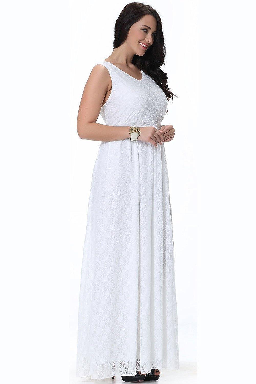 583f5d70aa0 Unomatch Women Wedding Sleeveless V-Neck Plus Size Dress Pleated ...