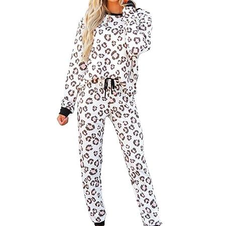 GZSC Nuevo Mujeres chándal Pijamas del Estampado Leopardo ...