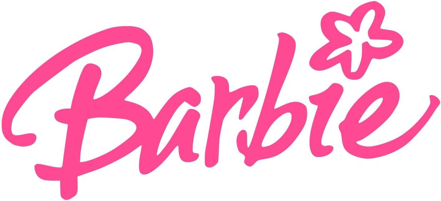 Barbie with Flower Sticker Decal (12''x7'', Magenta)