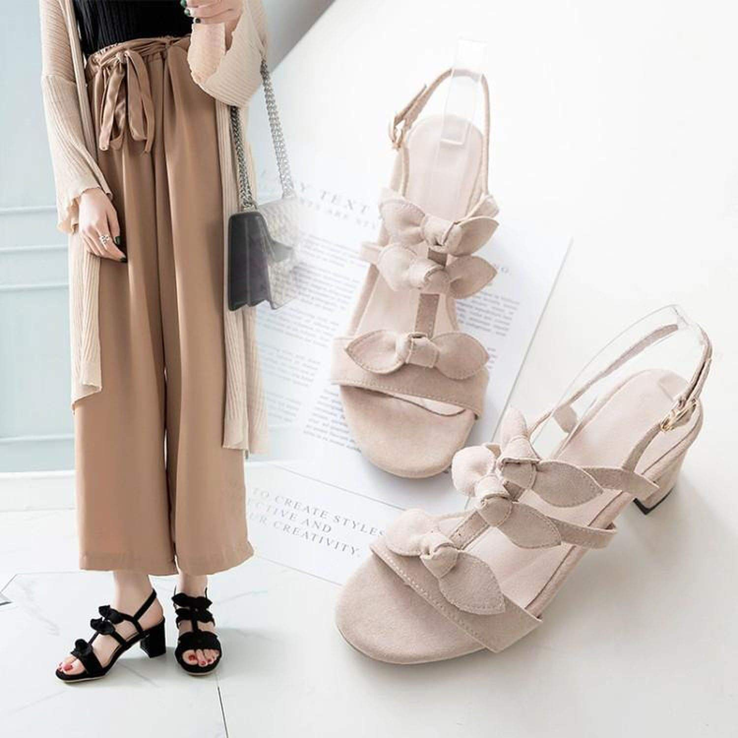 fly-consciousness Summer Sandals with Open-Toe Sheep Suede Youth One-Piece Buckle