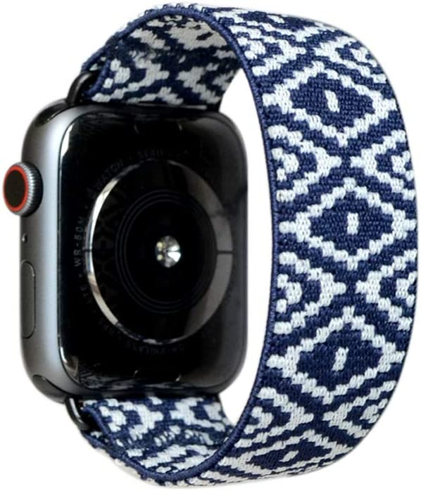 Tefeca Elastic Compatible/Replacement Band for Apple Watch (Blue Diamond, XS fits Wrist Size : 5.5-6.0 inch, 38/40mm)