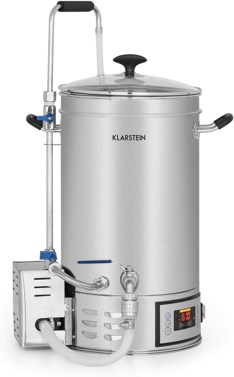 KLARSTEIN Brauheld 15 Caldera de maceración - Juego de fermentación, Cerveza casera, 15 L, 30-140 °C, 500-1600 W, Bomba de circulación, 4 Pasos programables, Pantalla, Acero, Plateado