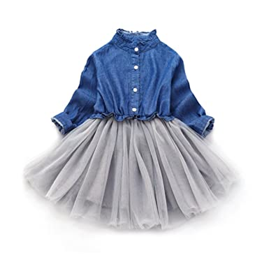 cdf6c9de25b11 「Bidear」子供 ワンピース 女の子 夏 半袖 フォーマルドレス 半袖ワンピース デニム キッズドレス 子供