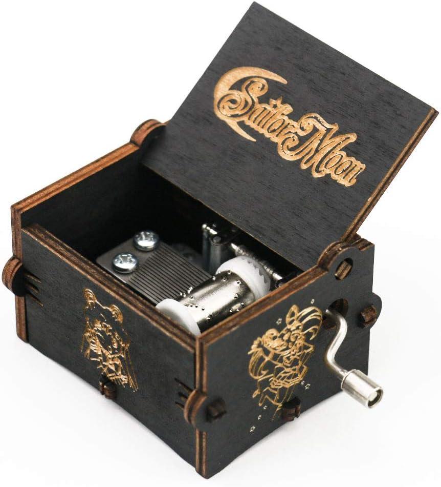 Caja musical de madera tallada con manivela, regalo musical, juego siempre conmigo, negro: Amazon.es: Hogar