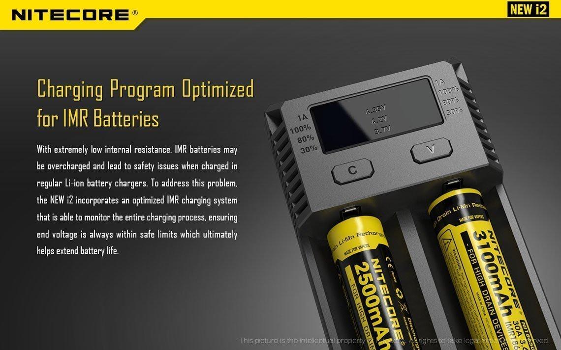 Smart Multi-Ladeger/ät f/ür 26650 22650 18650 18490 18350 17670 17500 17335 16340 RCR123 14500 10440 AA AAA AAAA Li-Ion//IMR//Ni-MH//Ni-Cd Batterien Akku Nitecore New i2 Intellicharge