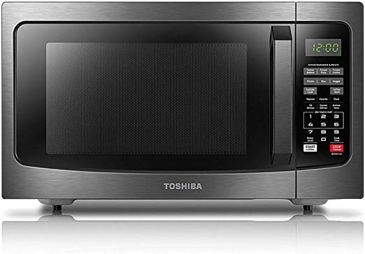 Amazon Com Toshiba Em131a5c Bs Microwave Oven With Smart Sensor Easy Clean Interior Eco Mode And Sound On Off 1 2 Cu Ft Black Stainless Steel Kitchen Dining