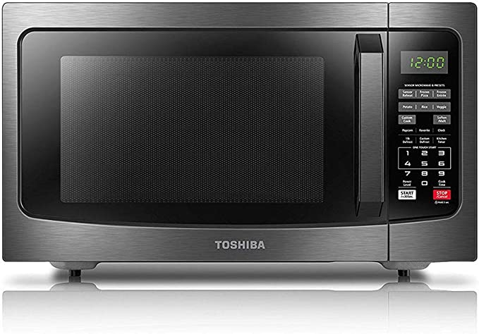 Toshiba EM131A5C-BS Microwave Oven with Smart Sensor, Easy Clean Interior, ECO Mode and Sound On/Off, 1.2 Cu Ft, Black Stainless Steel   Amazon