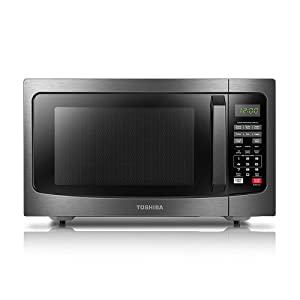 ToshibaEM131A5C-BS Microwave Oven with Smart Sensor, Easy Clean Interior, ECO Mode and Sound On/Off, 1.2 Cu.ft, 1100W, Black Stainless Steel