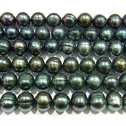 TheTasteJewelry 10-11mm Off Round Genuine Black Freshwater Cultured Pearl 15 inches 38cm Jewelry Making Necklace - (10mm Black Genuine Pearl Necklace)