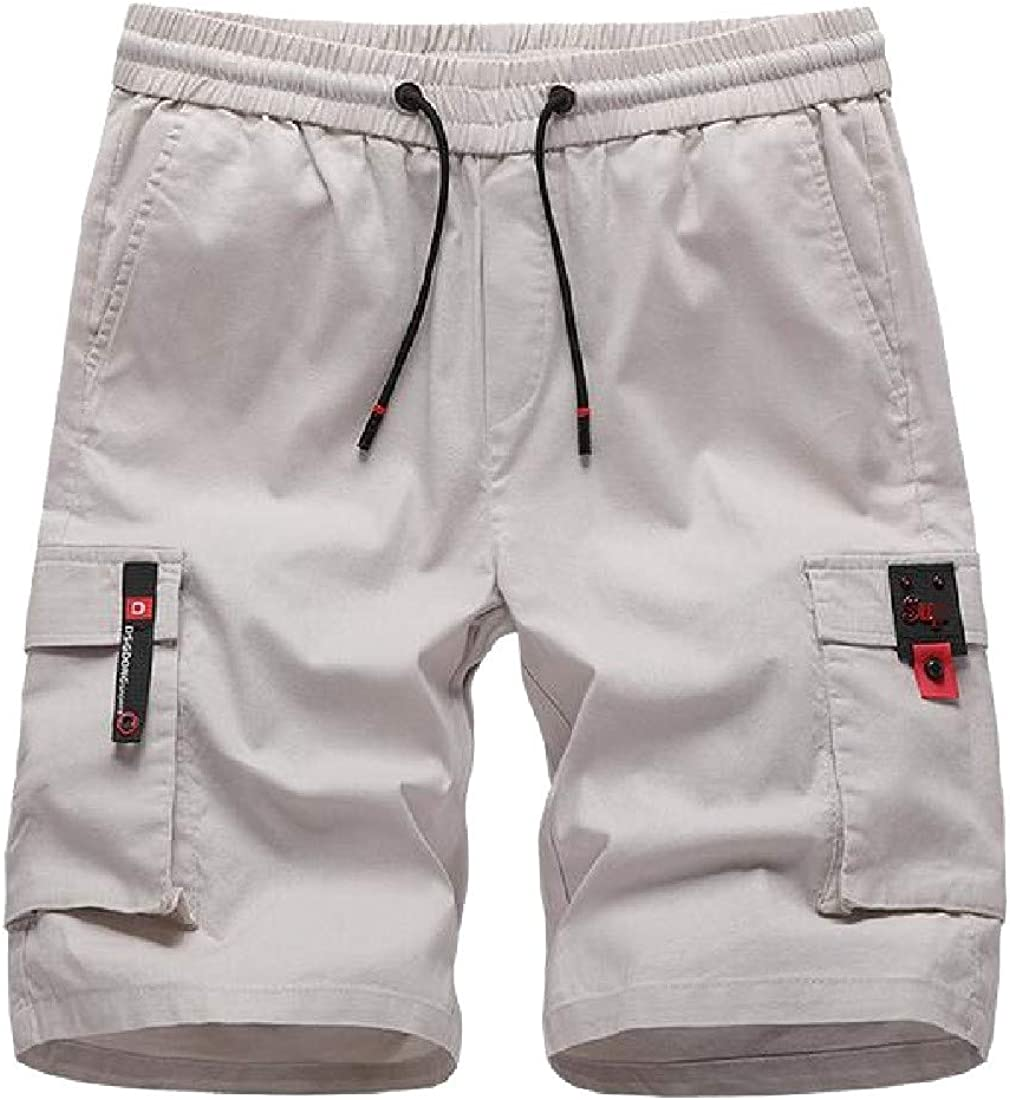 Joe Wenko Mens Drawstring Elastic Waist Multi-Use Pocket Rugged Wear Cargo Shorts Pants