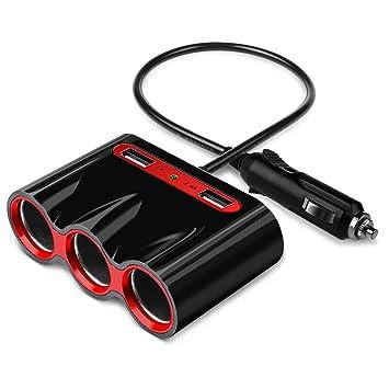 Cargador de Coche 120W 3 Encendedor de Cigarrillos Coche y 3.4A 2 Puertos USB Mechero de Coche para Cargar iPhone iPad Samsung Teléfono Móvil Tablets ...