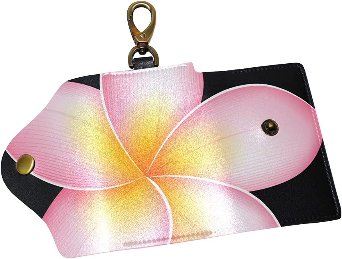 KEAKIA Hand Painted Flowers Leather Key Case Wallets Tri-fold Key Holder Keychains with 6 Hooks 2 Slot Snap Closure for Men Women