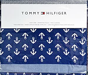 Amazon Com Tommy Hilfiger White Anchors On Blue Sheet Set