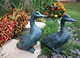 Atlantic Collectibles Large Verdi Green Aluminum Two Lover Pond Ducks Garden Statue Set