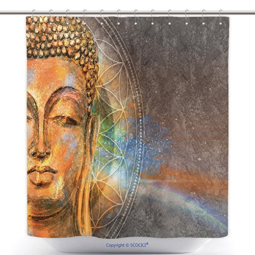 Mildew Resistant Shower Curtains Head Of Lord Buddha Digital Art Collage Combined With Watercolor Buddha Purnima Background 578947915 Polyester Bathroom Shower Curtain Set With Hooks