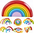 XLKJ Puzzle Rompecabezas Apliable Diseño de Arco Iris Madera Juguetes Educativos Aprendizaje 7 Color para Niños