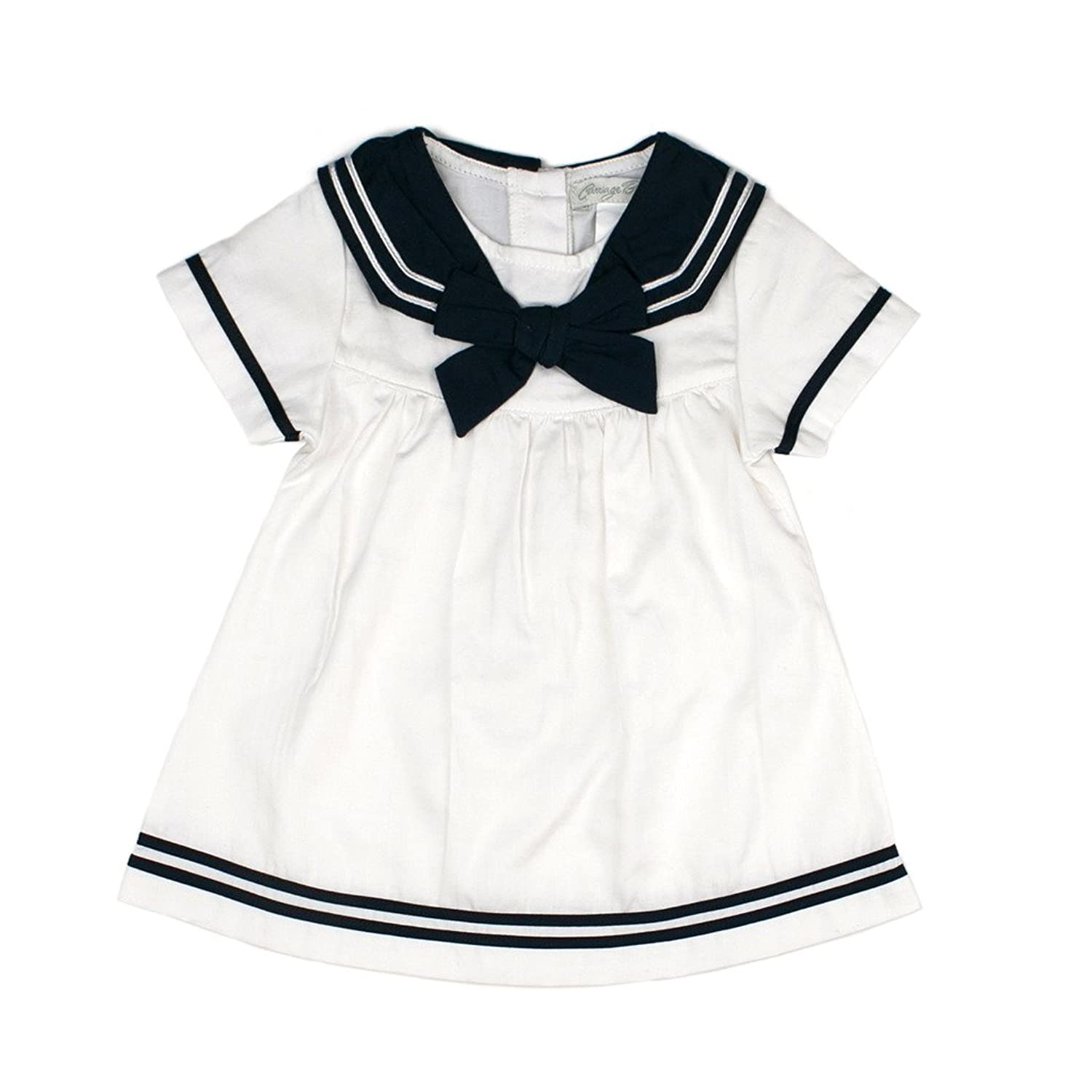 1930s Childrens Fashion: Girls, Boys, Toddler, Baby Costumes Toddler  Girl Spring Sailor Dress - Nautical Navy White Carriage Boutique Baby $49.00 AT vintagedancer.com