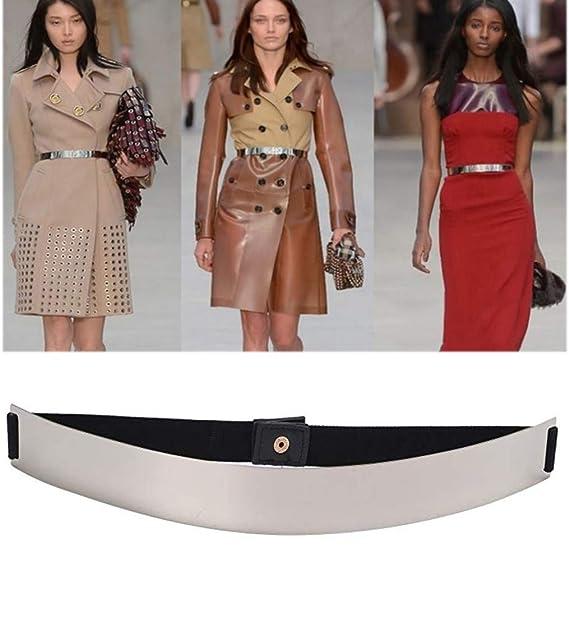 ALAIX Moda para mujer Hojas doradas Cintura elástica Vestido Cinturón  Espejo plateado  Amazon.es  Ropa y accesorios b57c2a9f3306