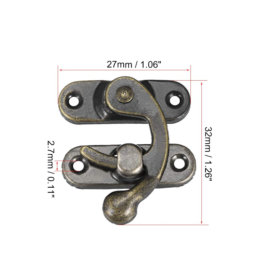 20-Piece Uxcell a14082700ux0095 Right Latch Hook Antique Wood Box Hasp Catch Decor Bronze Tone