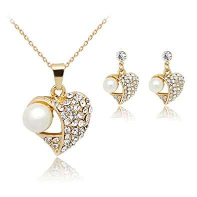 Wedding Fashion Love Earring Double Heart Love Necklace Jewelry Set Necklace