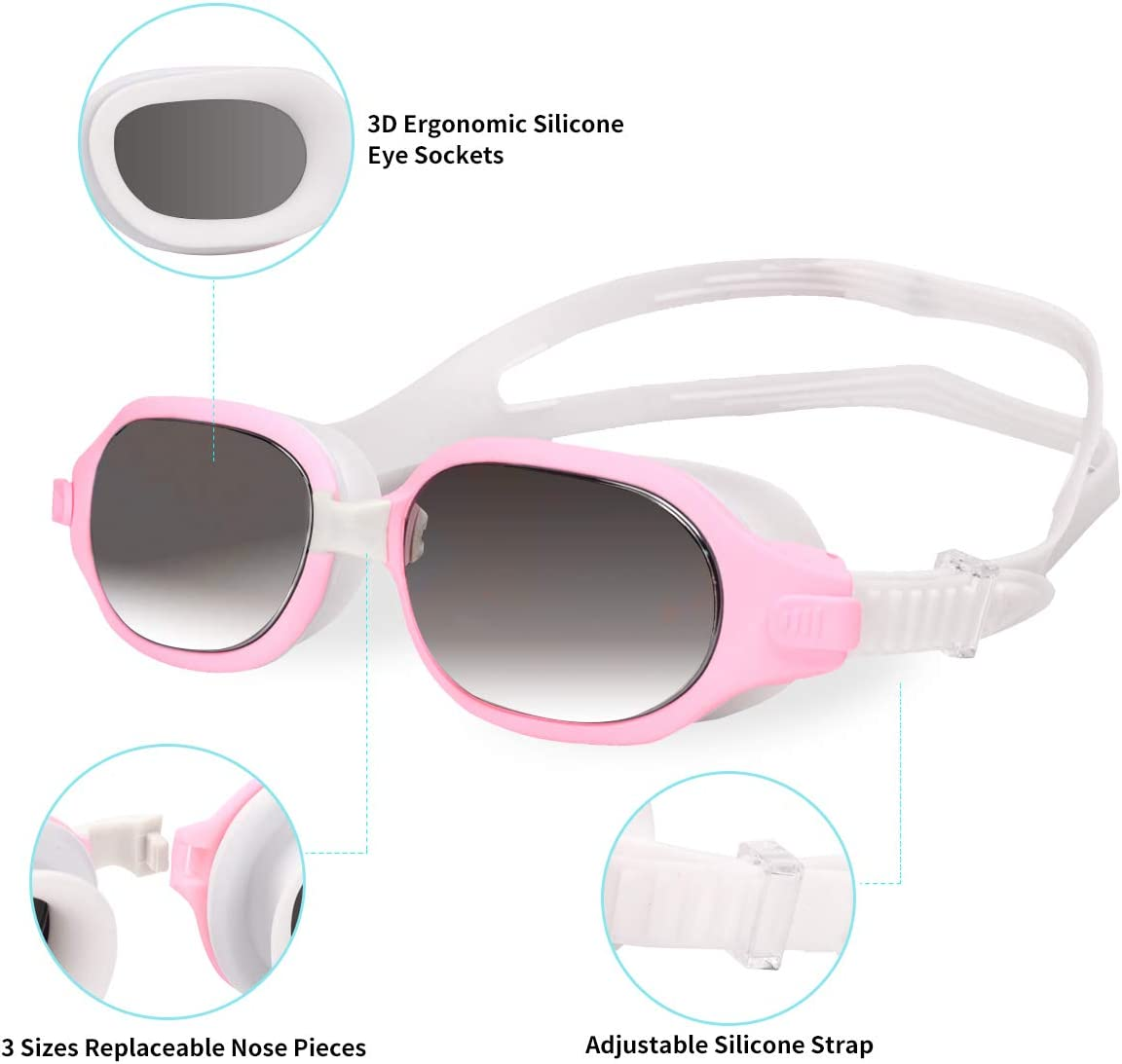No Leaking Anti-Fog UV Protection Mirrored Clear Lenses Swimming Goggles for Adult Men Women Youth Swim Goggles