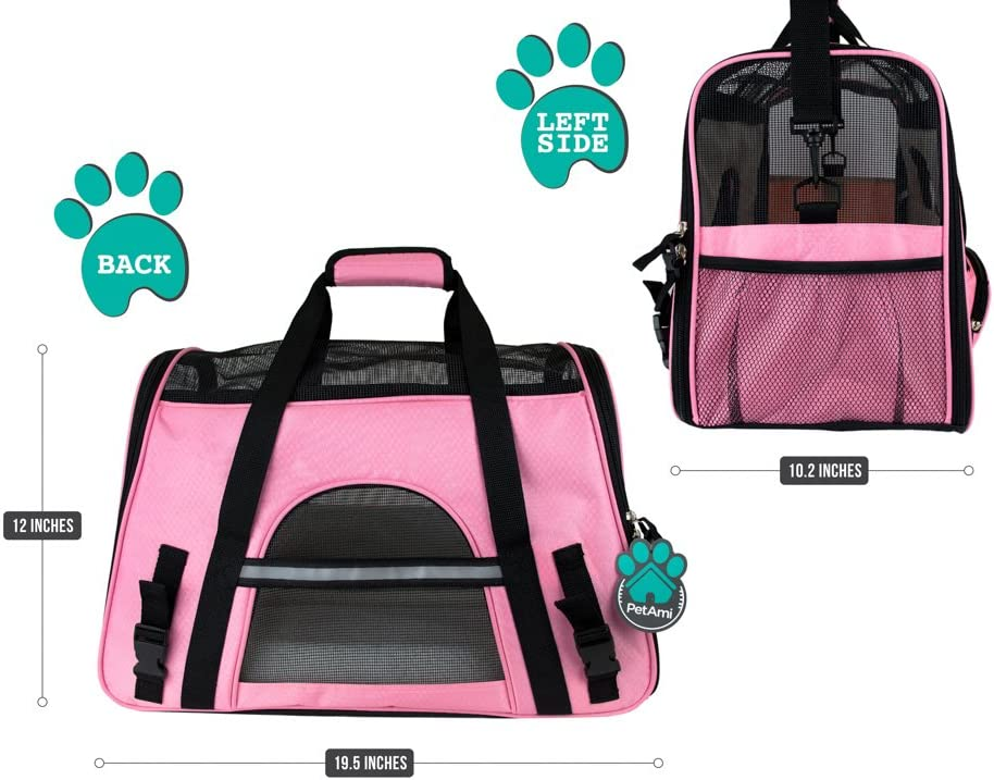 PetAmi Premium Airline Approved Soft-Sided Pet Travel Carrier | Ideal for Small - Medium Sized Cats, Dogs, and Pets | Ventilated, Comfortable Design with Safety Features (Large, Pink) : Pet Supplies