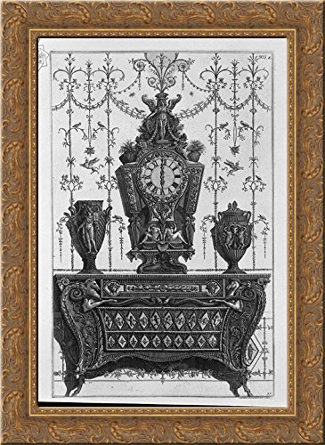 Chest of drawers with patterns of diamonds, on a clock and two decorative vases 20x24 Gold Ornate Wood Framed Canvas Art by Piranesi, Giovanni Battista