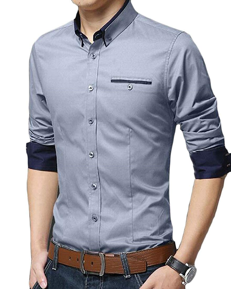 Cromoncent Mens Slim Fit Long Sleeve Button-Down Inner Contrast Fleece Lined Shirts