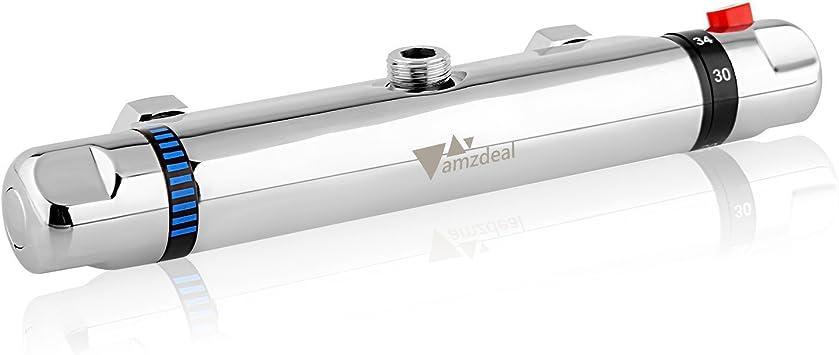 Robinet douche thermostatique anti-br/ûlure laiton chrom/é avec bouton de s/écurit/é 38 /° C pour salle de bain Mitigeur thermostatique pour douche