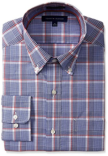tommy-hilfiger-mens-regular-fit-non-iron-exploded-plaid-shirt-blue-multi-145-neck-32-33-sleeve