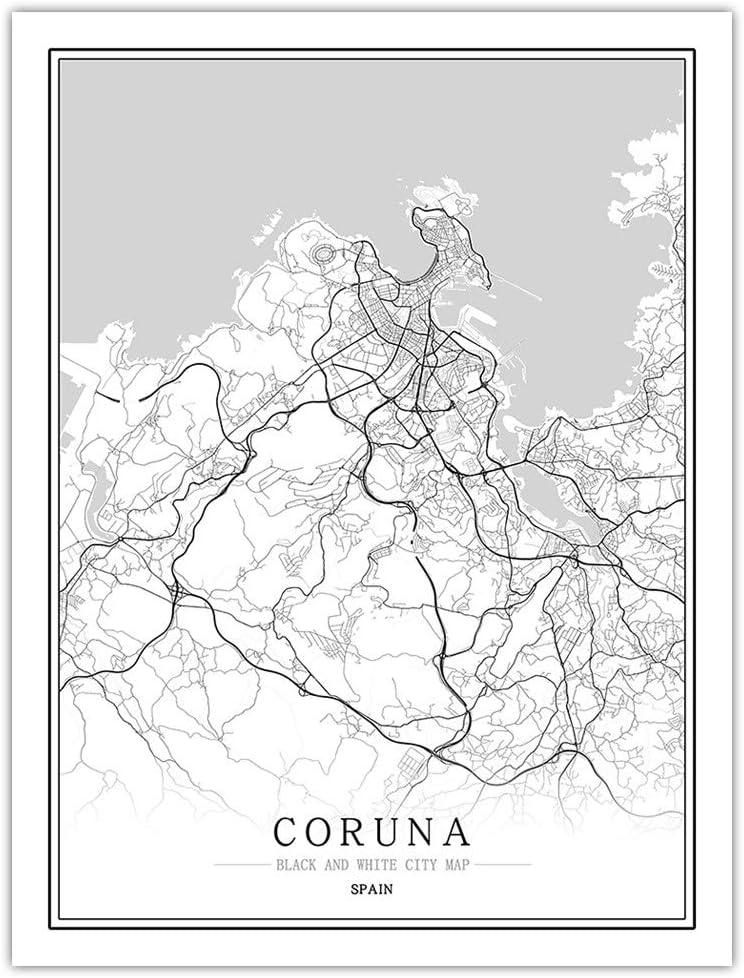 Impresión De Lienzo,Mapa De La Ciudad De Coruña España Simple Cartel Mural En Blanco Y Negro De Arte Pop Pintura Minimalista Modular Vertical Del Espacio De Oficina Viva Arte Personalizada Decorac: Amazon.es:
