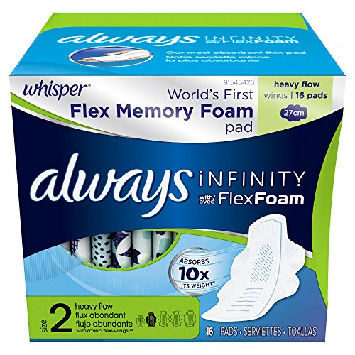 Always Infinity Size 2 Feminine Pads with Wings, Super Absorbency, Unscented, 16 Count ()