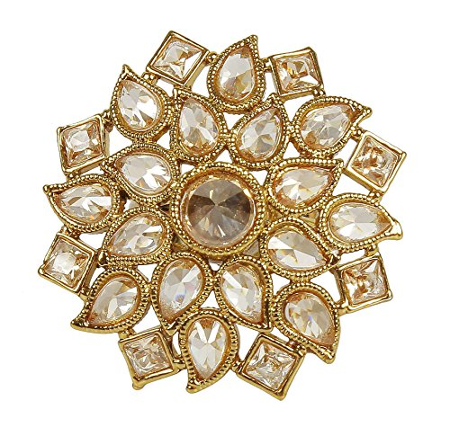 Antique Gold Tone Crystal (MUCH-MORE MUCHMORE Indian Gorgeous Antique Gold Tone Crystal Stone Fashion Rings Partywear Traditional Jewelry)