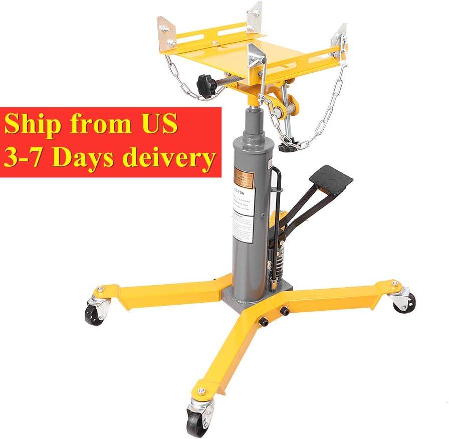 Adjustable Three T 1100Lbs 2 Stage Telescoping Hydraulic Transmission Floor Jack Lift Hoist W//Foot Pump