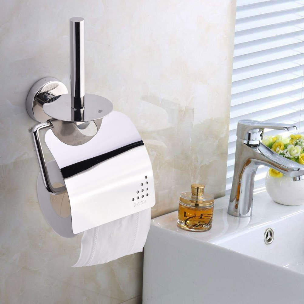 TOPINCN 304 Stainless Steel Toilet Paper Holder, Wall Mounted Toilet Roll Holder Cover, Rustproof Two Rolls