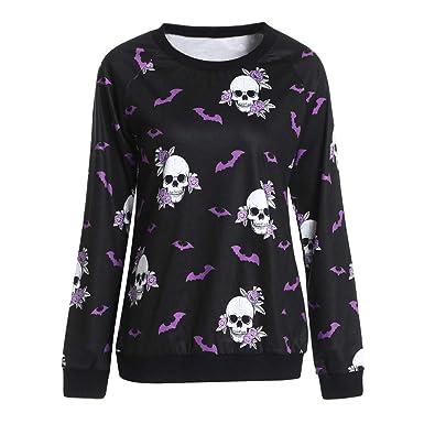 70b5cbbc05f Fashion Ladies Autumn New fashion tops Women Halloween Crew Neck Long Sleeve  Terror Bat Skull Print Sweatshirt  Amazon.co.uk  Clothing
